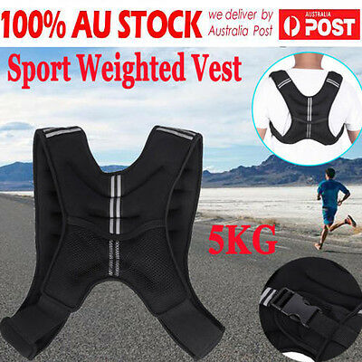 5kg Weighted Vest Adjustable Weight Vests Gym Crossfit Training Running Sports D