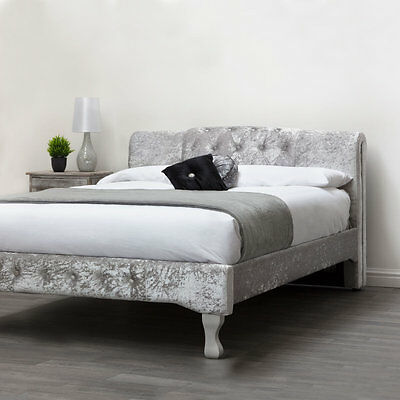 Modern Silver Crushed Velvet Bed Frame Fabric Upholstered Double King Size