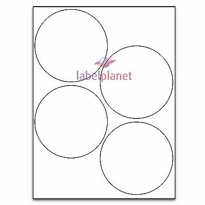 4 Per Page 100mm Blank White A4 Circular Round Sticky Labels Label Planet®
