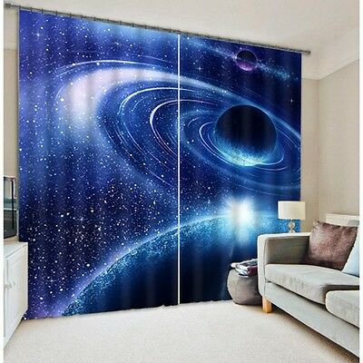 Universe Space Planet 3D Blockout Photo Printing Curtains Drape Fabric Window 02
