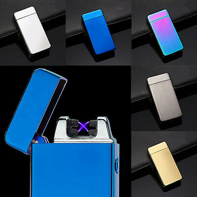 Metal USB Cigarette Rechargeable Electric Lighter Double Arc Windproof Lighter