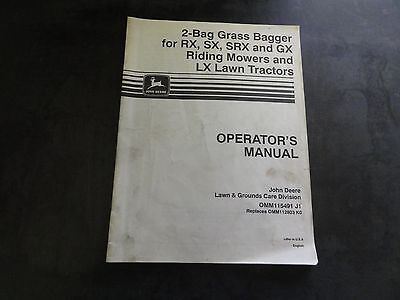 John Deere 2-Bag Grass Bagger for RX SX SRX GX Mowers Operator's Manual