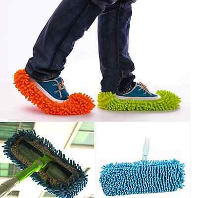 2Pcs Soft Slipper Floor cleaning duster Washable housework shoes Home Mop Sweep