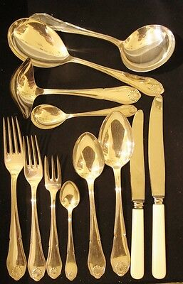 Art Deco Danish Cohr Silver Plate Shell 6 person cutlery set c1930 #2 52pieces