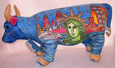 "Large Plush Cow Parade Doll 20"" #67537 Blue New York Skyline Liberty 2000"