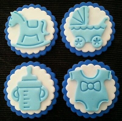 12 x BABY SHOWER BLUE EDIBLE CUPCAKE TOPPERS / DECORATIONS