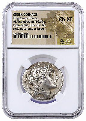Greek Thrace Silver Tetradrachm Early Posthumous Lysimachus NGC Ch XF SKU42222