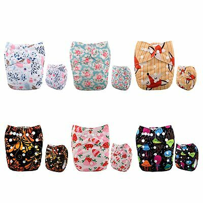 Alva Baby New Printed Design Reuseable Washable Pocket Cloth Diaper 6 Nappies +