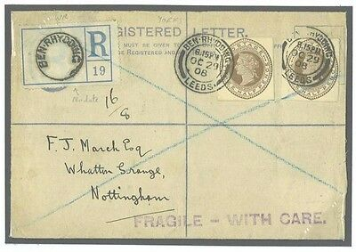 DBR247 1908 BECHUANALAND Overprint PSRE Late Use GB Cut-outs Marked Fragile/Nott