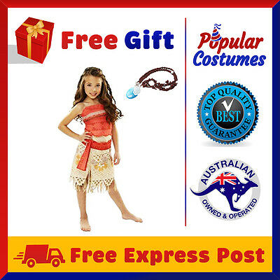 5 Piece Moana Deluxe Child Polynesia Princess Adult Dress Bookweek Girls Costume