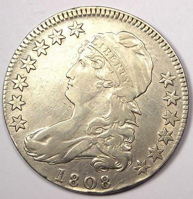 1808 Capped Bust Half Dollar 50C - Sharp XF/AU Details - Rare Date Coin!