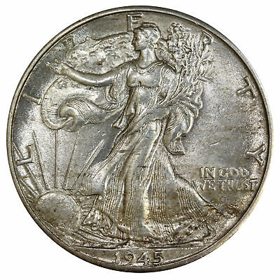 1945 D Walking Liberty Half Dollar 90% Silver About Uncirculated AU