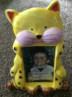 ADORABLE CERAMIC CAT PHOTO PICTURE FRAME Yellow Paw Prints Gift Kitty Large