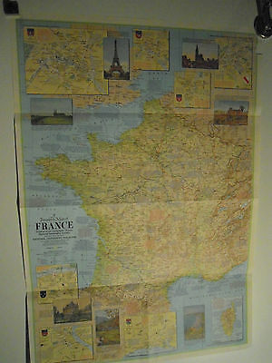 National Geographic Wàll Map of France, 1971