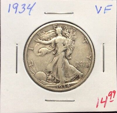 1934 50C Walking Liberty Silver Half Dollar in VF Condition