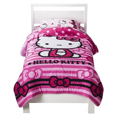 Hello Kitty Bow Tied 1 Twin Reversible MIcrofiber Comforter - Pink Polka Dots