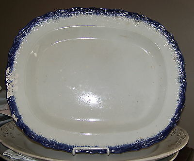 "GORGEOUS Antique BLUE LEEDS 18"" PLATTER VERY DETAILED BORDER, LOVELY, Damaged"