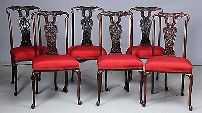 Beautiful Set Of 6 Antique Carved Mahogany Dining Chairs