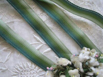 Vintage French Green Ombre Small, Ribbon Flowers Ribbon Trim     2 Yards