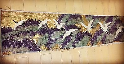 Antique Chinese Silk Hand Embroidered Qing Dynasty Textile Rare Phoenix Wall