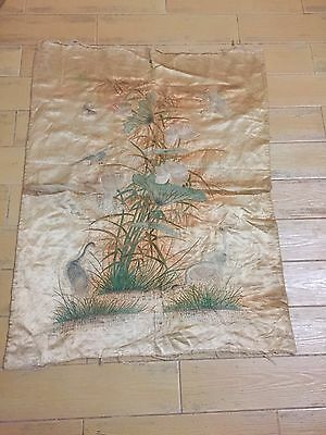 antique chinese silk Hand Embroidery Bird Wall Hanging Textiles Rare Art