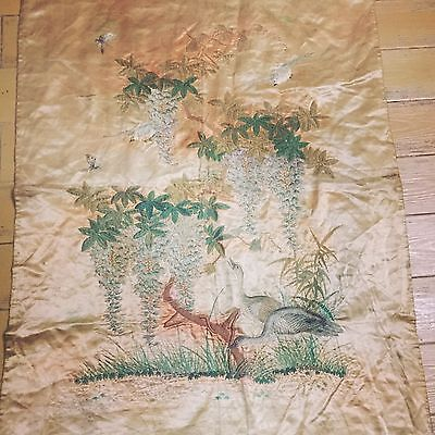 antique chinese silk Hand Embroidery Bird Wall Hanging Textiles Rare Art 01 Stun