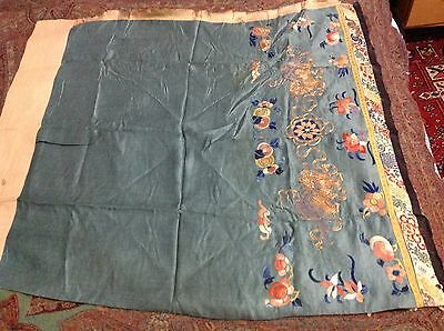 Antique Chinese Silk Rare Hand Embroidered Dynasty Textil Skirt Wall Hanging