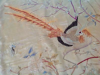 Antique Chinese Silk Hand Embroidered Phoniex Wall Hanging