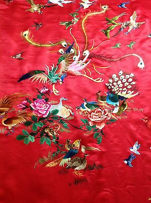 Antique Chinese Silk Hand Embroidered Wall Hanging Wedding Sheet Red