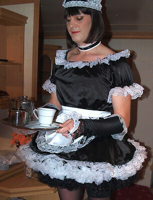 Professional Satin French Maid Uniform - Not a fancy dress costume