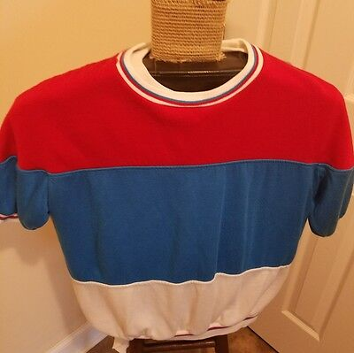 Vintage 1980s Red White and Blue Short Sleeve Sweatshirt Sports Action
