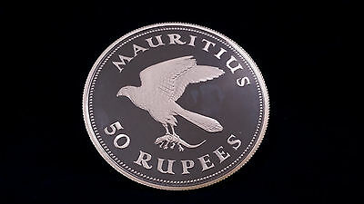 1975 Mauritius 50 Rupees Kestrel Silver Proof Coin