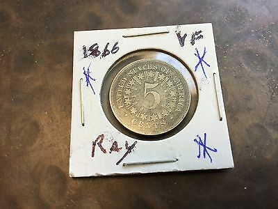 1866 Shield Nickel With Rays VF
