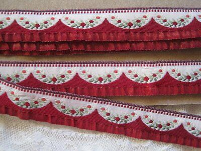 Vintage French Red Ruffle Rayon Ribbon Trim     2 Yards
