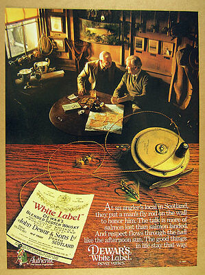 1983 Dewar's White Label Scotch fly fishermen scottish pub photo vintage ad