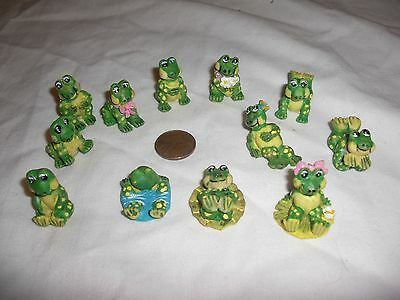 LOT of 12 DIFFERENT TINY MINIATURE RESIN FROG FIGURINES  NEW   1 INCH