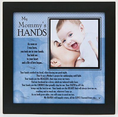 "Grandparent Gifts My Mommys Hands black wall/table frame Space for photo 8""x8"""