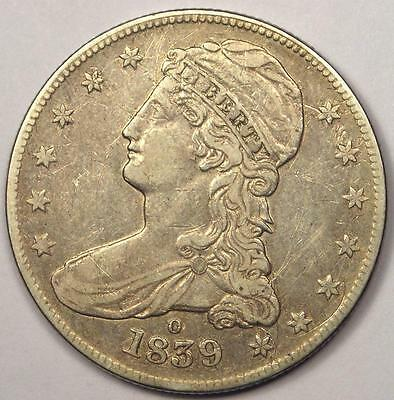 """1839-O Capped Bust Half Dollar 50C - Sharp XF Details - Rare Date """"O"""" Coin!"""