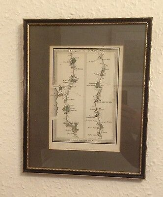 1815 Road Map of London to Falmouth (St Blazey, St Austle, Grampound, Probus)