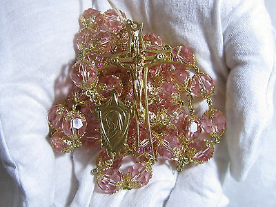 "† Enormous Old Stock Vintage Double Filigree Cap Czech Peach Glass Rosary 44"" †"