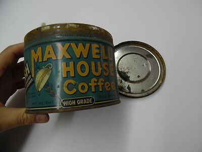 c.1930s Maxwell House Coffee High Grade One Pound Tin Can with Lid Vintage ORIG.