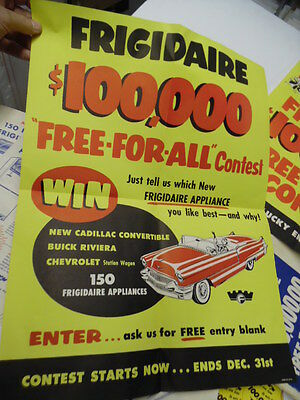 1956 Frigidaire Contest Merchandising Kit Cadillac Convertible Prize Poster More