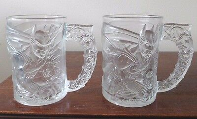 "Set of 2 EUC 1995 MCDONALD'S  ""BATMAN FOREVER"" GLASS MUGS"