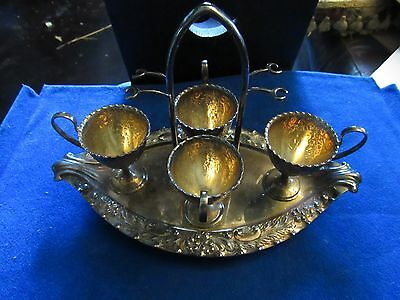 19th Century Silver Plate  Footed, 4 Egg Cruet Set by WALKER AND HALL SHEFFIELD