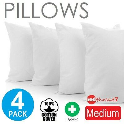 Pillows Family 4 Pack Medium Bed Polyester Premium Cotton Cover 48X73cm New Bulk