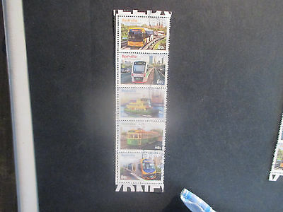 No--3--2012 AUST; CITY  TRANSPORT  STRIP  OF 5 STAMPS -PERF'; ---USED -A1
