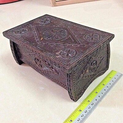 Wooden Box Antique Vintage Primitive Handmade Japan Storage Jewelry Watch Rings