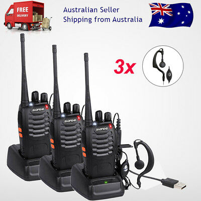 3x Baofeng BF-888S Ham Radio 2-Way UHF 400-470MHZ Walkie Talkie 16CH Long Range