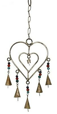 Twin Heart Shaped WIndchime with Bells