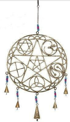 Pentacle/Celtic/Chakra Metal Windchime with Bells Approx 30cm Witch Wicca